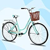 26 inch Complete Cruiser Bikes for Women, Single Speed Comfortable Womens Bike with Baskets, Classic Retro Beach Cruiser Bike, Womens Beach Cruiser Bike for Leisure Picnics & Shopping