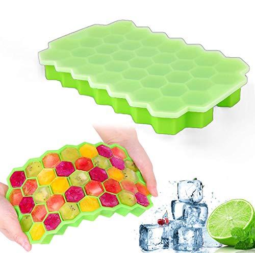 Bandejas para Hielo Silicona, Grado Alimenticio Molde para Cubitos de Hielo 37 Cubos Caja de Hielo para Congelador, Comida para Bebés, Vino y Otras Bebidas