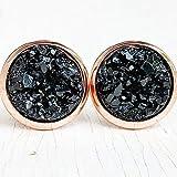 Black on Rose Gold - Druzy Stud Earrings - Hypoallergenic
