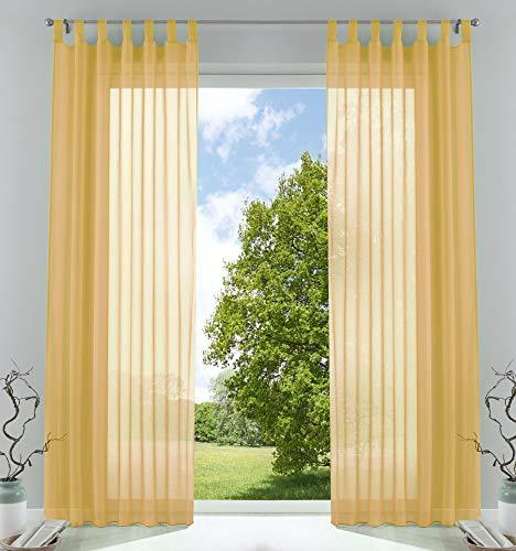2er-Pack Gardinen Transparent Vorhang Set Wohnzimmer Voile Schlaufenschal mit Bleibandabschluß HxB 245x140 cm Gelb, 61000CN