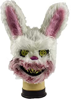 LUHUAISH AU Bloody Rabbit mask Plush COS Halloween Scary Rabbit mask Animal mask