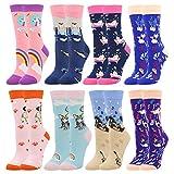 BONANGEL Calcetines Estampados de las Mujeres, Mujeres Ocasionales Calcetines Divertidos Impresos de Algodón de Pintura Famosa de Arte Calcetines, Calcetines de Colores de moda (8 Pares-Unicorn1)