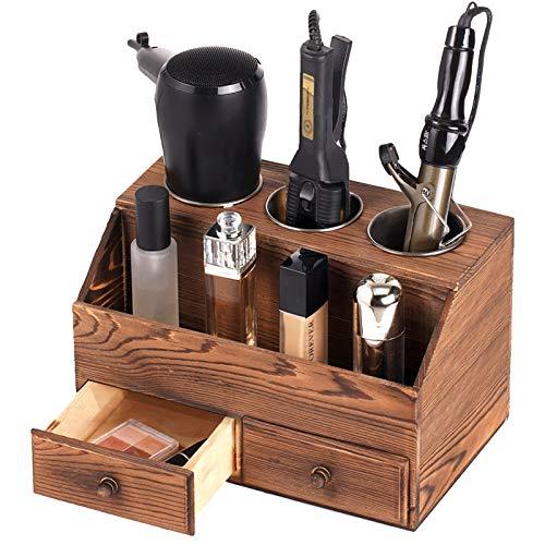 SEKAM Wood Hair Tool Organizer Storage with Drawers - Bathroom Organizer Countertop - Hair Blow Dryer Holder - FlatCurling Iron Holder - Bathroom Hair Styling Vanity Accessories Organizer Brown