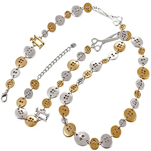 Unique Gifts on The Web Button and Schere Charm Silber/Gold Ton 110 cm lang Passende Halskette