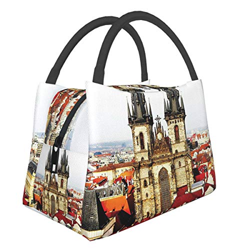 Insulated Neoprene Lunch Bag Lunch Tote For Work And School Print Wanderlust Decor Collection Bird Eye Prague View And Tyn Church Castle Houses Autumn Old Town Square Picture Grey Ivory Burgundy