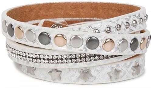 styleBREAKER Wickelarmband mit Strass, verschiedenen Nieten und Sterne, Armband, Damen 05040029, Farbe:Antik-Weiß