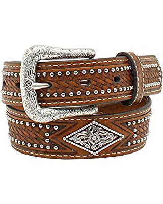 Ariat Kid's 1/4'' Diamond Concho Nail Head Belt, Tan, 30