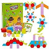 Glintoper Set of 170 Wooden Pattern Blocks Set, Geometric Manipulative Shape Puzzle Tangram Classic Educational Montessori Toys for Kids, Jigsaw Puzzles Gift with 33 Pcs Design Cards