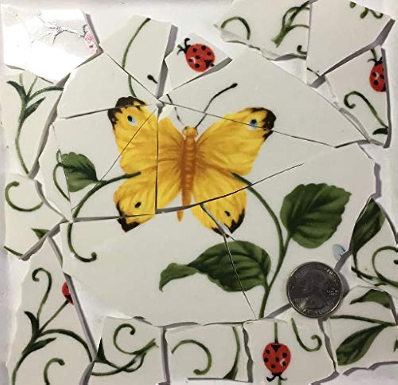 Mosaic Art & Craft Supply ~ Yellow Butterfly Feature Tiles (A628)