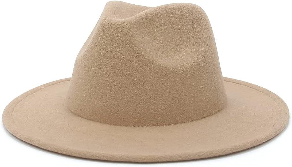 EOZY Women & Men Fedora Hat Wide Brim Unsex Floppy Panama Hat Cap (Khaki, 23.23