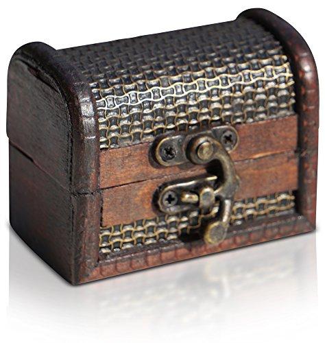 Brynnberg Piraten-Schatztruhe Holztruhe braun - Handarbeit Vintage mit und ohne Schloss Verschiedene Größen unsere Schatzkiste (kleine Truhe 8x4,5x6cm)