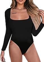 BEAGIMEG Women's Square Neck Long Sleeve Bodysuit Basic Solid Leotards