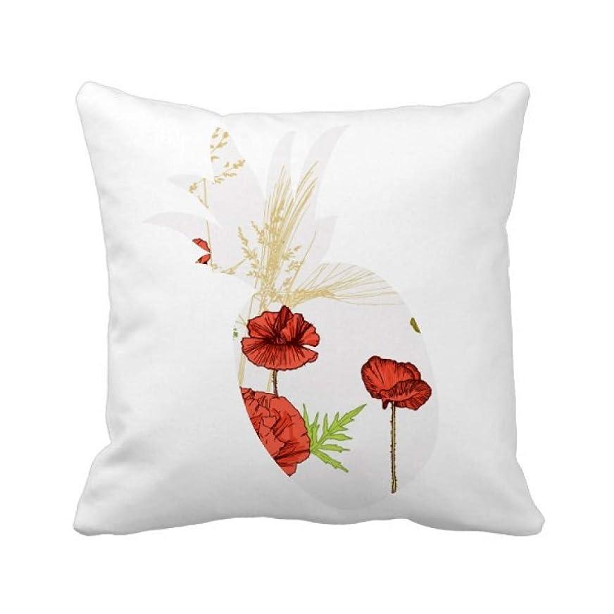 の縫い目調べる植物の花の絵のヒナゲシ パイナップル枕カバー正方形を投げる 50cm x 50cm