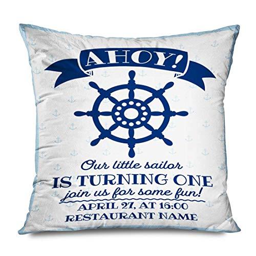 Mengghy Funda de almohada de 45 x 45 cm, diseño de ancla azul marinero náutico para primer cumpleaños, día festivo, color azul marino