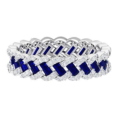 Anillo de boda vintage, único anillo trenzado, HI-SI 0,6 quilates anillos de diamante, 1,5 quilates azul zafiro creado en laboratorio, anillo de eternidad completo, 18K Oro blanco, Size:EU 59