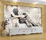 Barra De Papel Tapiz Fotográfico Sexy Girl Background Art Mural Hotel Decoración Del Hogar Etiqueta De Foto Diy 250(Ancho) X175(Alto) Cm Tela De Seda Personalizable