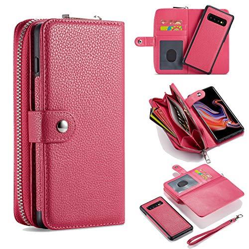 Brieftasche Hülle für S20 Plus, Litschi Magnetverschluss Abnehmbar Reißverschlusstasche [Standfunktion][Kartenfach] PU Leder Weich Schutzhülle mit Armband für Samsung Galaxy S20+ Plus 2020 - Rosenrot