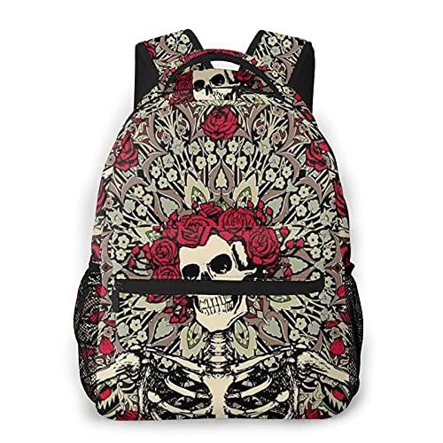 BYTKMFD Skull FloralMochilas para libros escolares, bolsa de transporte ligera de viaje - negro - talla única