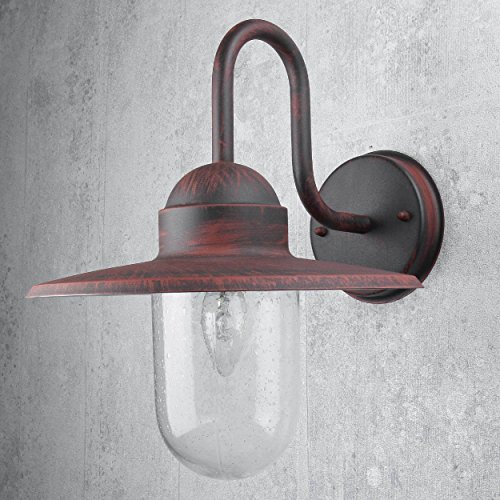 Maritime Lampe für Außen Hauswand Schwarz Rot Antik Glas IP44 GÖTEBORG Wegbeleuchtung Garten Balkon