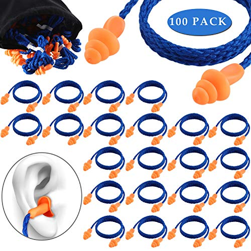 100 Pairs Corded Ear Plugs Silicone Noise Reducing Blocking Cancelling Soft Reusable Rubber Hearing Protection Earplugs for Sleeping Swimming Snoring Sports Racing