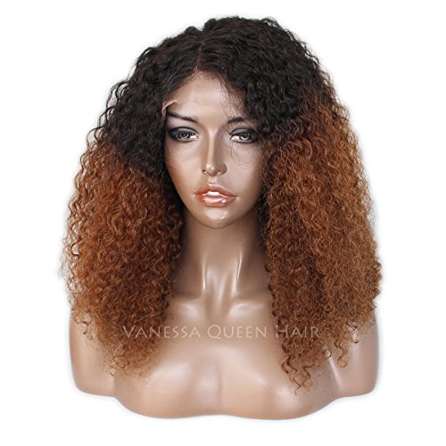 Maycaur Ombre Brown Curly Full Lace Human Hair Wigs Kinky Curly Lace Front Wig For Black Women 150 Density (20inch lace front wig)