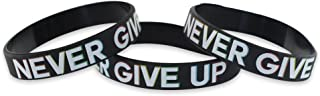 Never GIVE UP - Motivational Black Silicone Wristband Colored Lettering