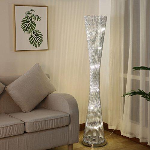 $stehlampe LED gewebte Draht und Aluminium verdrehte Prisma Stehleuchte mit silbernen Stielen (Farbe : C-Foot switch)