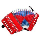 M-zutx 7 clés 2 cordes for enfants accordéon jouets musicaux enfants de plus de 3 ans accordéon garçons et filles apprentissage précoce jouets éducatifs éducatifs (Color : Rouge)
