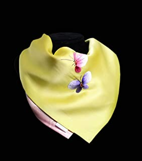 HangErFeng Hand embroidery Square Scarf Double-deck Silk Hair Scarf Sunscreen Shawls gift packaging