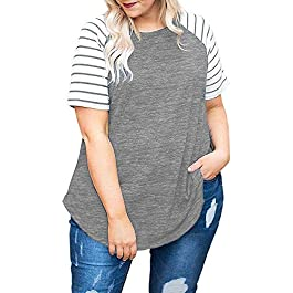 DOLNINE Women's Plus Size Tops Striped Raglan Tee Shirts Casual Tunics Blouses