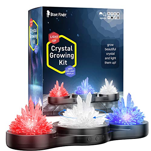 Light-up Crystal Growing Kit - Craft Stuff Toys Make Them Glow - Includes 4 Real Gemstone - Crystal Making STEM Educational DIY Science Set, Best Gifts for Boys & Girls Kids Toy - Rotating Dispaly