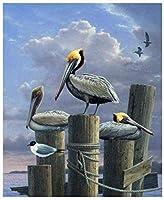 クロスステッチ キット 刺繍 手芸用品切り株の鳥11CT 手芸 Cross Stitch 図柄印刷 初心者 刺繍糸 針 布 家の装飾 壁の装飾(42x53cm)