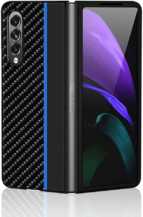 for Samsung Galaxy Z Fold 3 5G Case,Carbon Fiber Leather Case Cover Hybrid PU Leather Hard PC Anti-Scratch Shook-Proof Bumper Case for Samsung Galaxy Z Fold 3 5G (Black Blue)