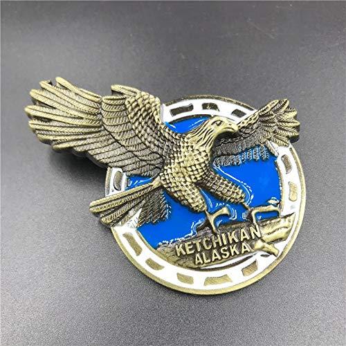 weichuang Imán de nevera de metal 3D para nevera, diseño de águila americana, Jerusalén, Israel, autobús de Londres, Nueva York, París, souvenirs, decoración del hogar (color: águila americana)