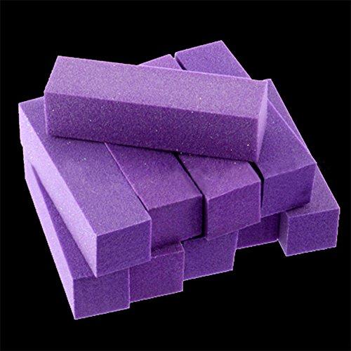 dljztrade 10pcs Ongles Tampons Blocs 4 Côtés Manucure Polissage Fichiers De Ponçage Outil De Polissage Salon Art Violet