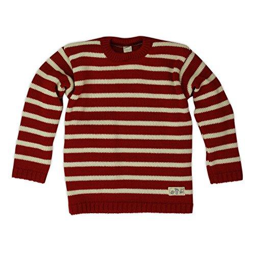 Lilano Strick-Pullover mit Zwei Knöpfen, Farbe Rot-Natur, Größe 92 aus 100% Schurwolle kbT Wollbody®