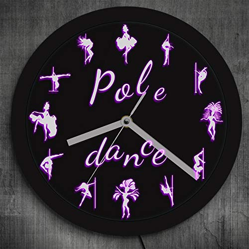 Pole dance iluminación LED reloj de pared pole dance bailarina moderna silueta regalo de luz LED para su steal pipe dancing wall art decoration