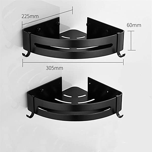 Xinrangxin Bathroom Shelf Vanity Vanity Storage Rack Black Aluminum Wall Mounted Bathroom And Kitchen Corner Bracket With Two Hooks No Punching Strong Load Bearing Capacity Triangleblue 2Tier