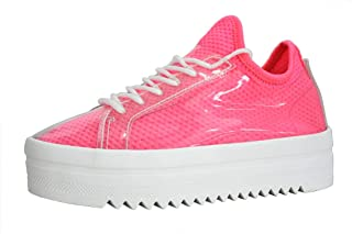 Womens Platform Casual Tennis Sneakers | Chunky Dad Lime White Light Color Sneakers