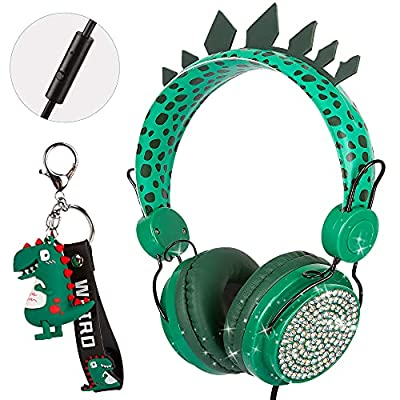 Kids Dinosaur Headphones with Microphone,3.5mm Over Ear Headphones for Children Boys Girls,Volume Limit Safe 85dB,Headset with Adjustable Headband for School Travel Xmas Gifts (Dinosaur) from Onxe