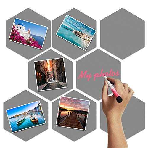 8 Packs Picture Panel Wall Board Hexagon Soft Iron Board Tiles Bulletin Board Memo Board with Cuttable Square Soft Magnetic, Decoration for Home Office Classroom Wall(Medium,Gray)
