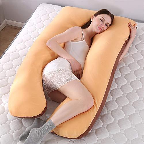WWWL Almohada para Dormir Lateral Almohada de Embarazo 100% algodón Almohada de Dormir Almohada de Apoyo para Mujeres Embarazadas Cuerpo U Forma Almohadas de Maternidad Embarazo Side Sleepers