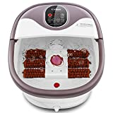 Foot Spa Bath Massager with 6 Motorized Rollers, Foot Bath Massager with Heat for Feet Relief and Relax, Bubble Surging, Temperature +/- and Timer through Digital Control Screen, Pedicure Stone