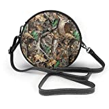 Bolso redondo mujer Women's Round PU Leather Crossbody Messenger Shoulder Bag Realtree Camo Deer In The Woodland Circle Tote Hobo Bag For Ladies Sling Bag