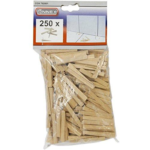 Connex Fliesenkeile 40 x 4 mm - Praktisches Set mit 250 Stück - Aus stabilem Buchenholz - natur / Fliesenzubehör / Fliesenverlegehilfe / Fliesen-Abstandhalter / COX792001
