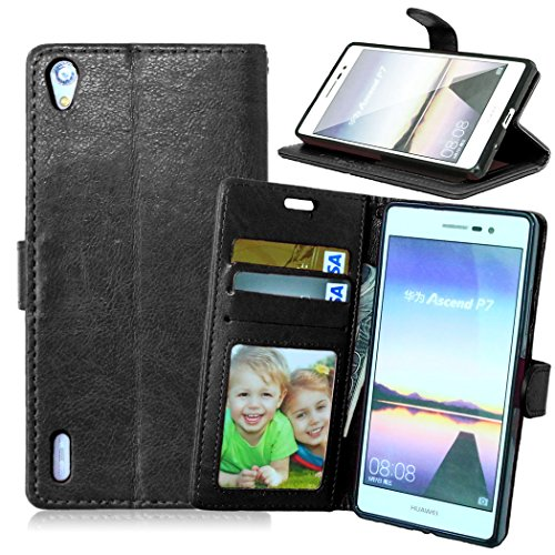 Funda Huawei Ascend P7,Bookstyle 3 Card Slot PU Cuero Cartera para TPU Silicone Case Cover-Negro