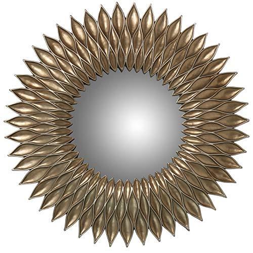 DRW Espejo de Resina Redondo con Forma de Sol Plateado 51,5x4cm, Interior 22cm