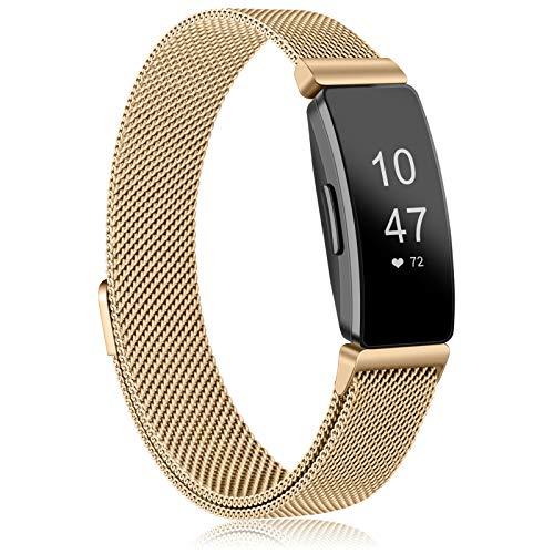 ZOYAO Compatible con Fitbit Inspire 2, pulsera Fitbit Inspire HR, correa de repuesto de metal de acero inoxidable con cierre magnético para Fitbit Ace 2 (L,oro rosa)