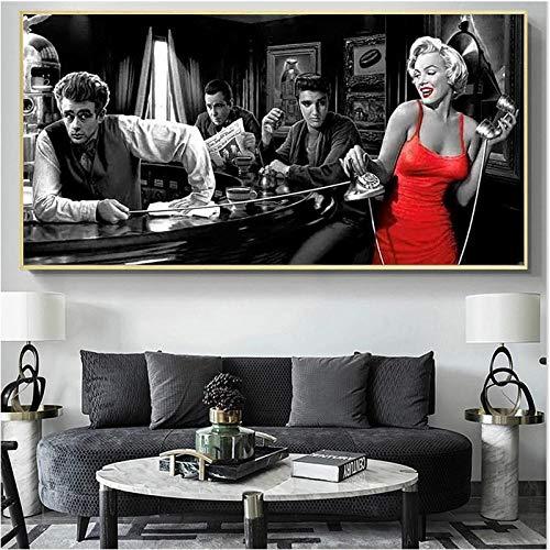 WTYBGDAN Klassischer Filmstar James Dean Marilyn Monroe Leinwandbilder Poster und Drucke Wandbilder für Wohnzimmerdekor   60x120cm - ohne Rahmen