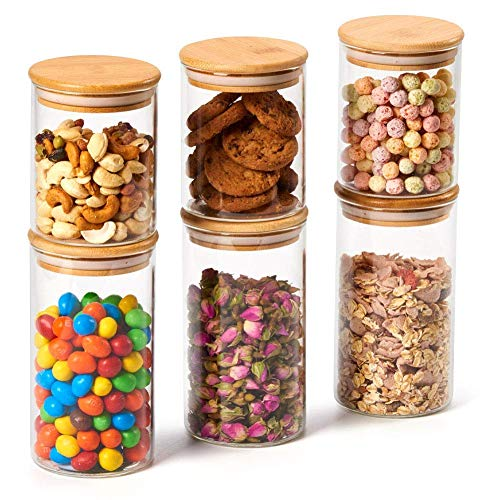 EZOWare 6er Set Glas Vorratsdosen, Vorratsgläser aus Borosilikatglas Küche Lebensmittel Lagerung Behälter mit Bambus Deckel - 450ml / 700ml